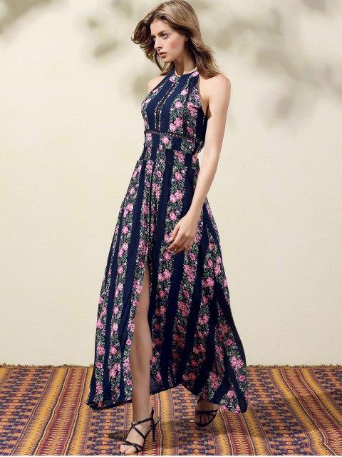 chic Floral Print High Slit Jewel Neck Sleeveless Dress - PURPLISH BLUE XL Mobile
