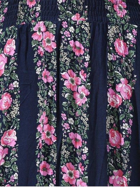 unique Floral Print High Slit Jewel Neck Sleeveless Dress - PURPLISH BLUE M Mobile