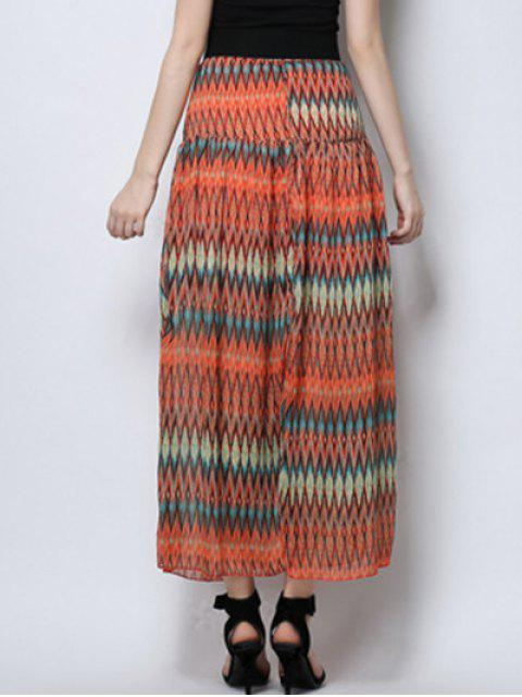 outfit Zig Zag Print High Waist  Skirt - ORANGE S Mobile
