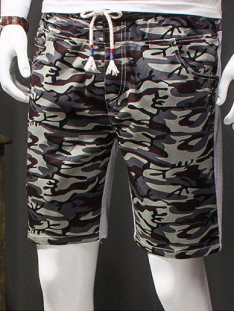 hot Camouflage Style Lace-Up Slimming Elastic Shorts For Men - GRAY L Mobile