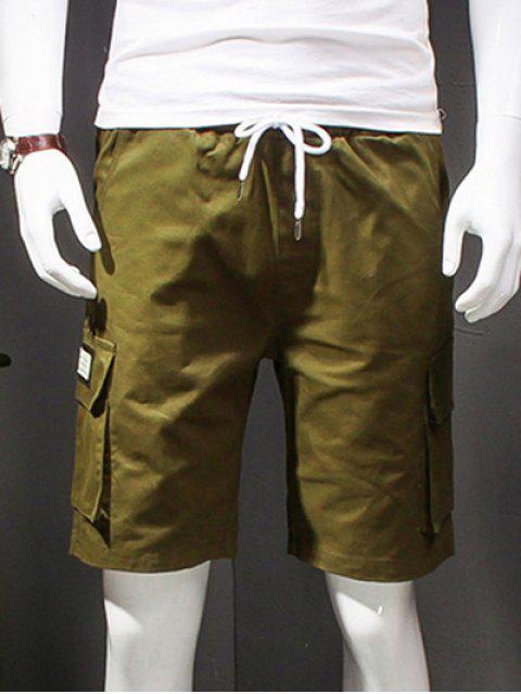 Carta Casual Impreso pierna recta multibolsillos Pantalones cortos para hombres - Ejercito Verde XL Mobile