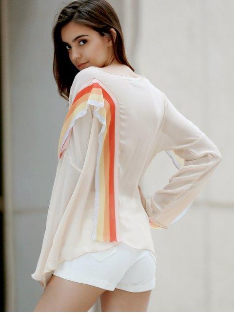 fashion Rainbow Ruffle Chiffon Top - WHITE M Mobile