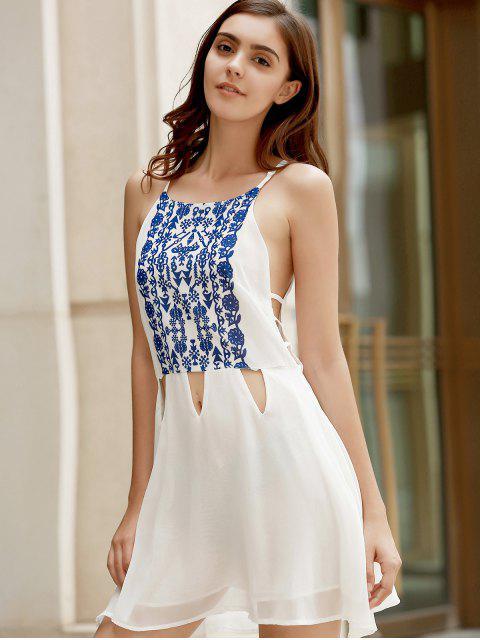 best Spaghetti Strap Vintage Floral White Dress - WHITE M Mobile