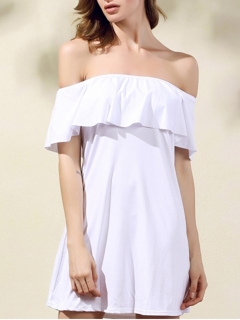 best Frilled Off The Shoulder Mini Dress - WHITE M Mobile