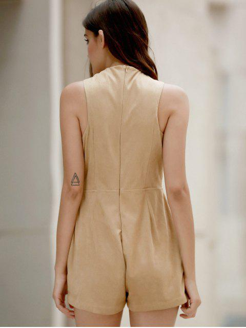 shop Lace Up Plunging Neck Sleeveless Romper - BEIGE L Mobile