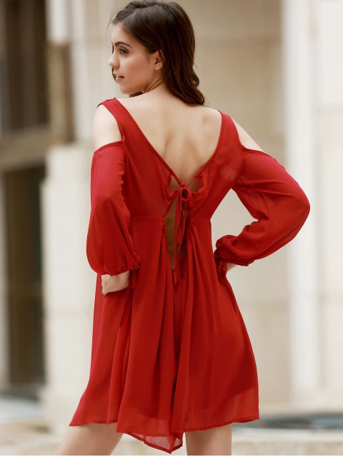 trendy Plunging Neck Chiffon Flowing Dress - WINE RED 2XL Mobile