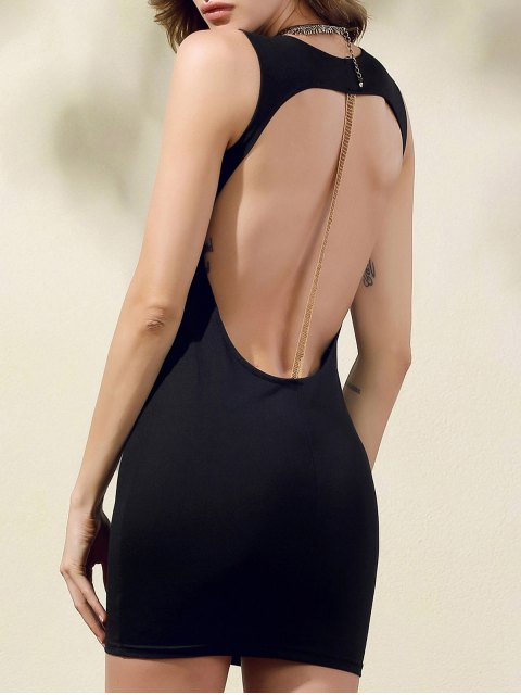 ladies Hollow Back Bodycon Party Dress - BLACK M Mobile