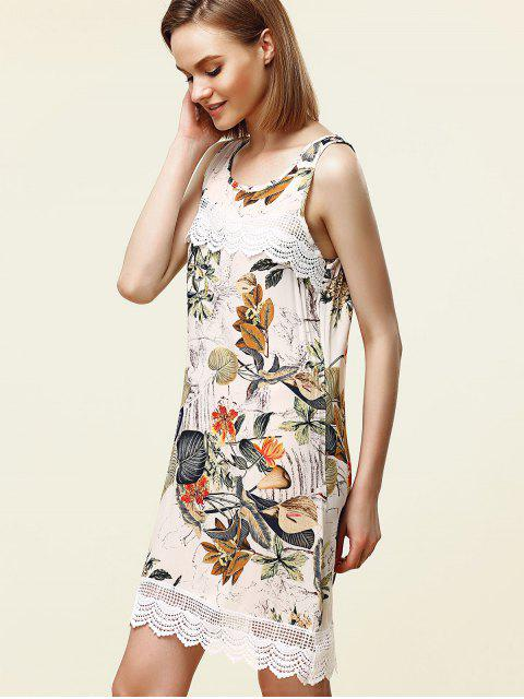 online Sweet Sleeveless Lace Embellished Floral Women's Dress - WHITE M Mobile