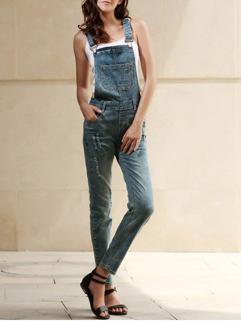 women Bleach Wash Pocket Denim Overalls -   Mobile