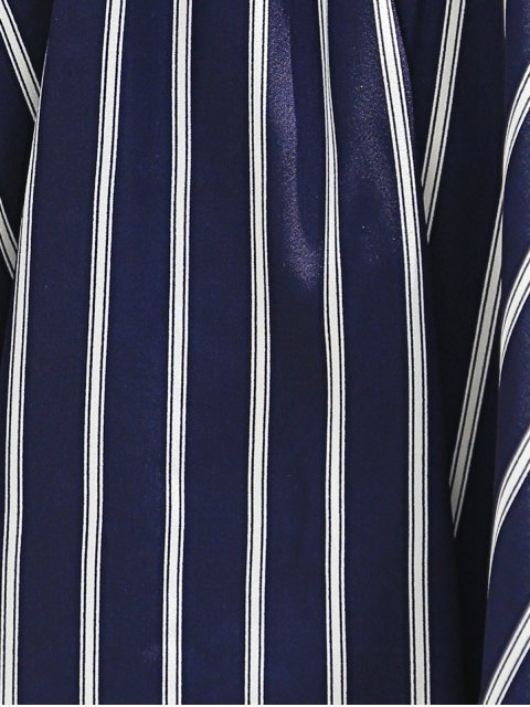 latest Sweet Off-The-Shoulder Striped T-Shirt For Women - PURPLISH BLUE S Mobile