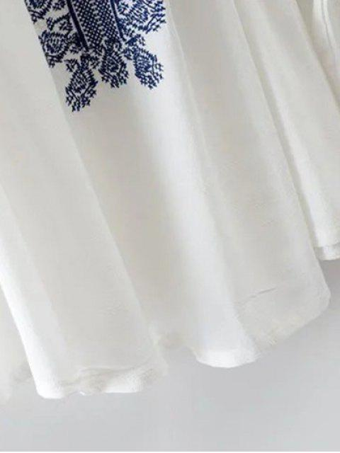 buy Off The Shoulder Embroidery Lantern Sleeve Blouse - WHITE L Mobile