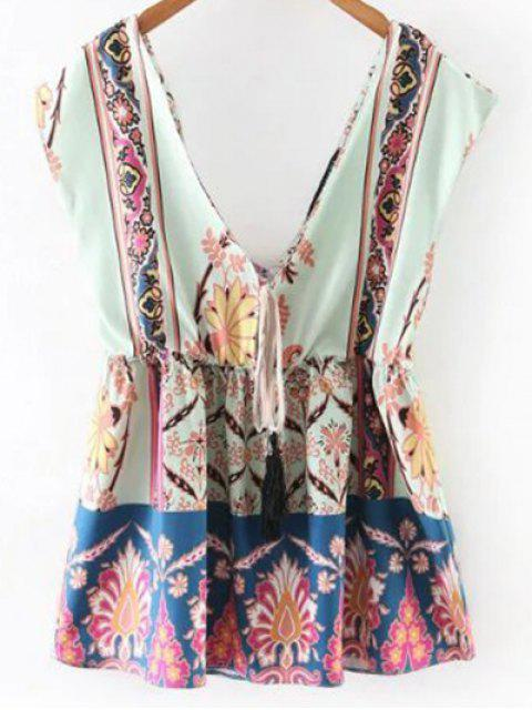 ladies Printed Waisted Corset Plunging Neck Tank Top - LIGHT BLUE M Mobile