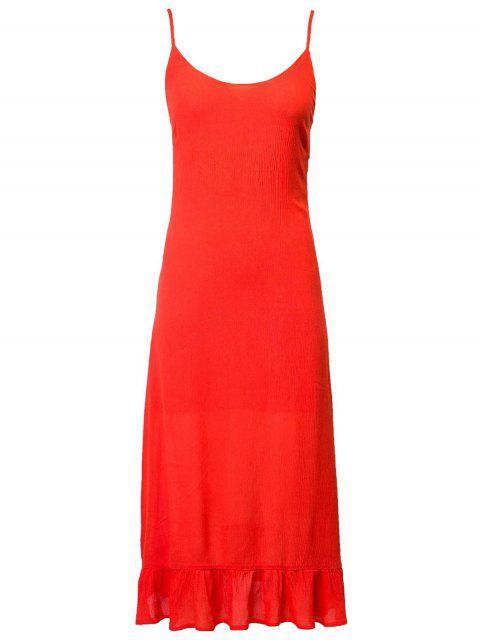 Cami Kleid mit Schnürsenkel und Rüschen - Roter Zirkon L Mobile
