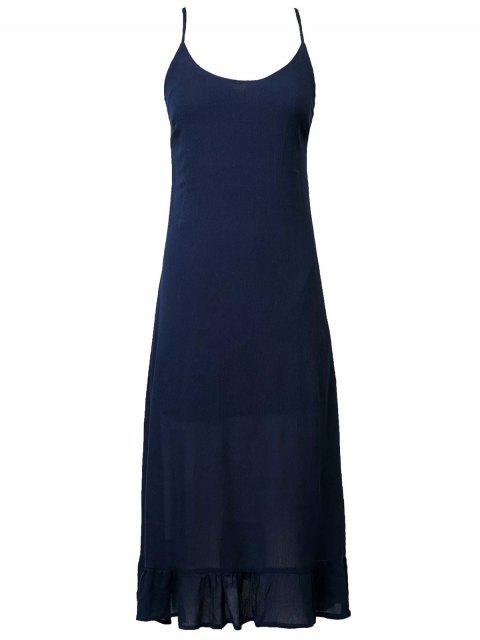 lady Lace Up Cami Flouncing Dress - PURPLISH BLUE S Mobile