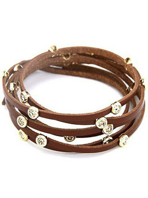 hot Rhinestone Alloy Faux Leather Strand Bracelet - COFFEE  Mobile