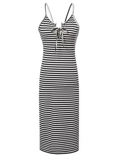 outfits Striped Lace-Up Cami Sleeveless Dress - WHITE AND BLACK S Mobile