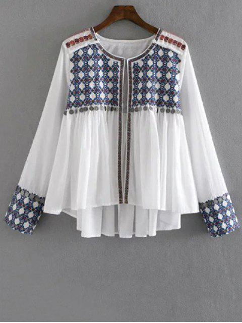 lady High-Low Printed Collarless Long Sleeve Blouse - WHITE L Mobile