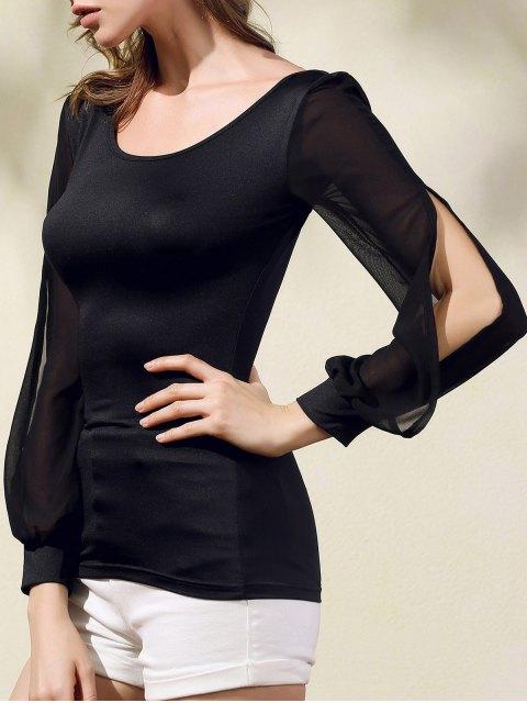 new Chiffon Spliced Scoop Neck Long Sleeve T-Shirt - BLACK XL Mobile