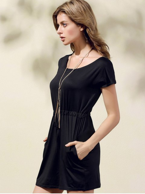 lady Drawstring Scoop Neck Short Sleeve Dress - BLACK M Mobile
