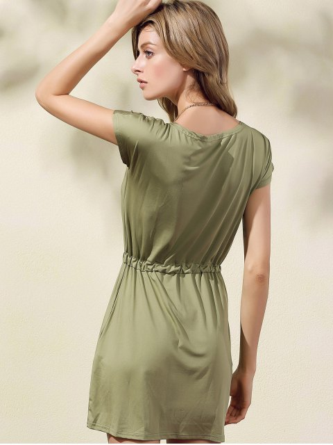 outfits Drawstring Scoop Neck Short Sleeve Dress - GREEN S Mobile