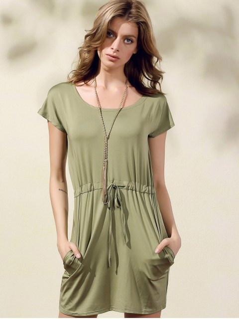 outfit Drawstring Scoop Neck Short Sleeve Dress - GREEN M Mobile