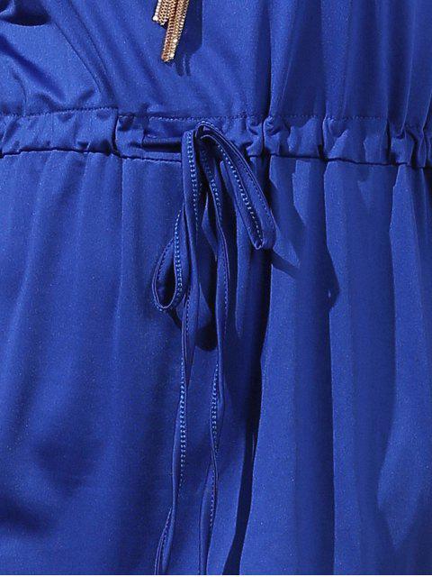 shops Drawstring Scoop Neck Short Sleeve Dress - BLUE XL Mobile