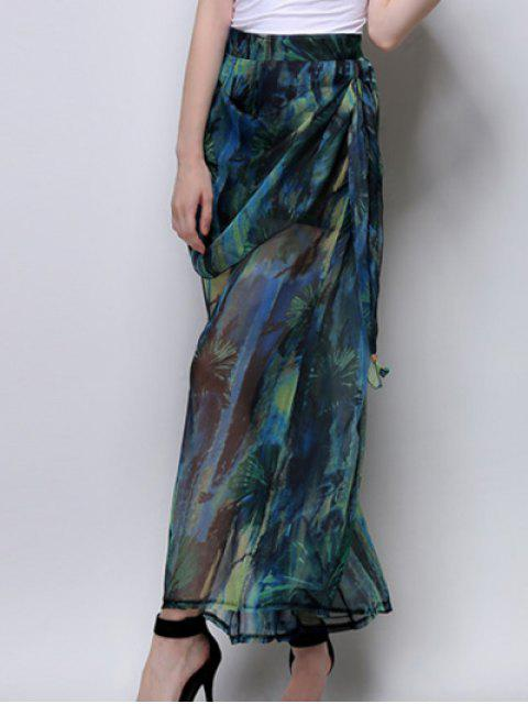 buy Abstract Print High Waist Wide Leg Pants - GREEN M Mobile