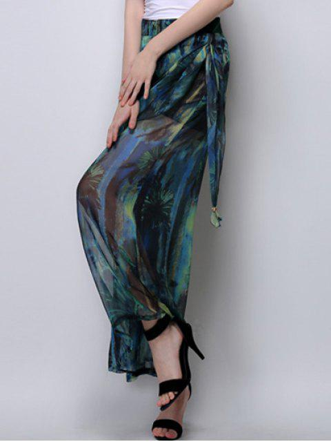 sale Abstract Print High Waist Wide Leg Pants - GREEN XL Mobile