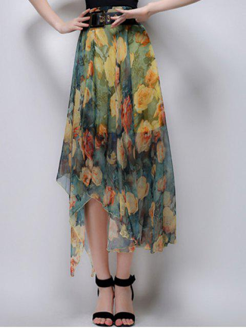 ladies Floral Irregular Hem High Waist Skirt - YELLOW L Mobile
