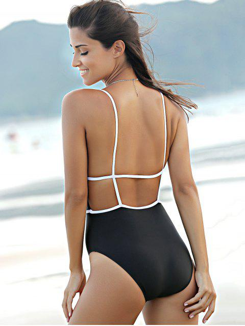 buy Backless Plunging Neck High Waisted One Piece Swimwear - BLACK XL Mobile
