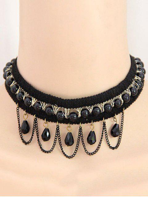 women's Bead Tassel Retro Choker Necklace - BLACK  Mobile