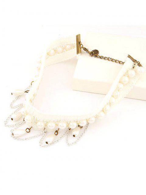 ladies Faux Pearl Tassel Elegant Choker Necklace - WHITE  Mobile
