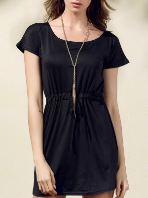Drawstring Scoop Neck Short Sleeve Dress - Black L