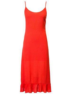 Lace Up Cami Flouncing Dress - Jacinth L