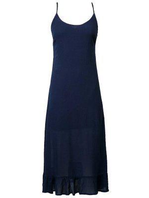 Robe à Bretelle à Falbalas - Bleu Violet S