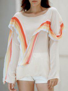 Rainbow Ruffle Chiffon Top - White 2xl