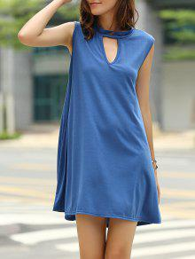 Stylish Keyhole Neckline Sleeveless Solid Color Dress For Women - Cadetblue Xl