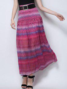 Zig Zag Print High Waist  Skirt - Rose L