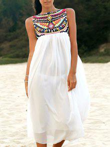 Buy Sleeveless Embroidery Round Neck Dress - WHITE XL