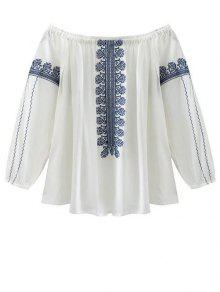 Off The Shoulder Embroidery Lantern Sleeve Blouse - White L