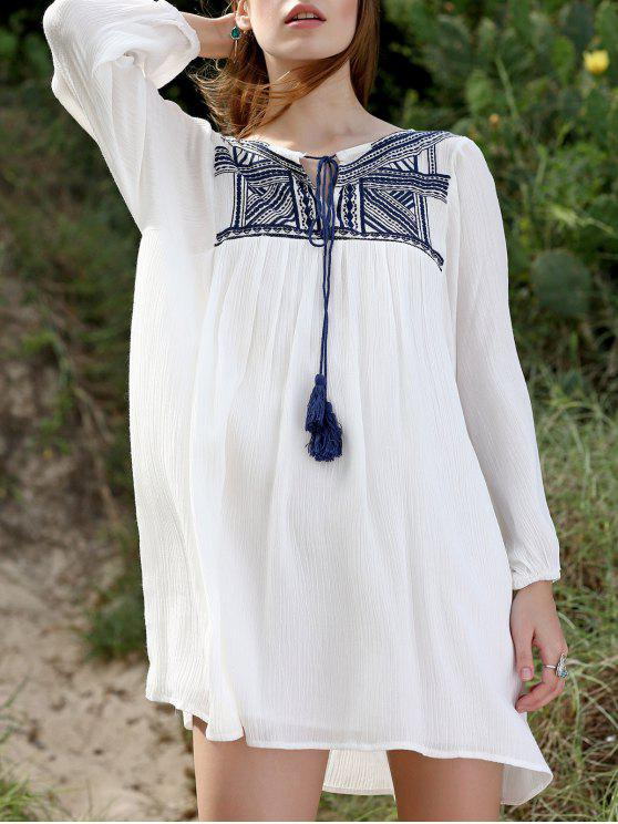 fancy Embroidery Long Sleeve Round Neck Swing Dress - WHITE M