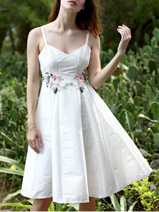 womens Floral Embroidery Spaghetti Straps Sleeveless Dress - WHITE M