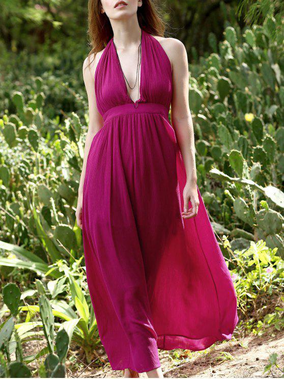 Sin respaldo sólido de color cabestro vestido sin mangas del cuello - Peach Red L