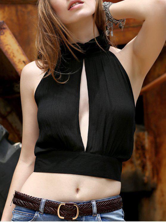 Negro ahueca hacia fuera el soporte del cuello sin mangas Camisa corta - Negro XL