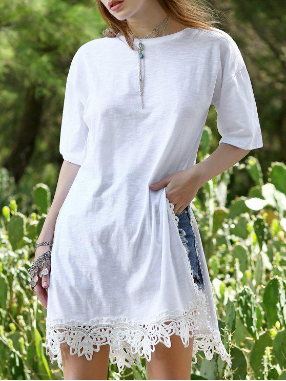 womens Side Vent Lace Hem Tee Dress - WHITE L