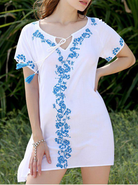 ladies Fringe Embroidered Shift Dress - WHITE ONE SIZE(FIT SIZE XS TO M)