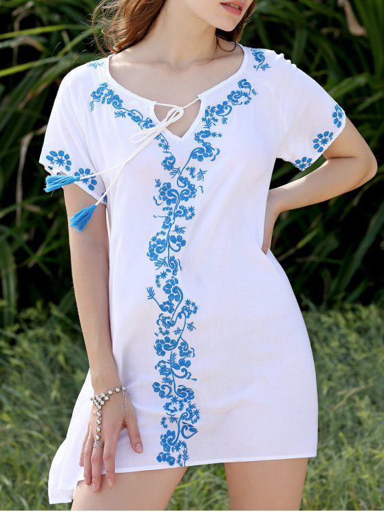 Blanc brodé Robe droite - Blanc Taille Unique(S'adap