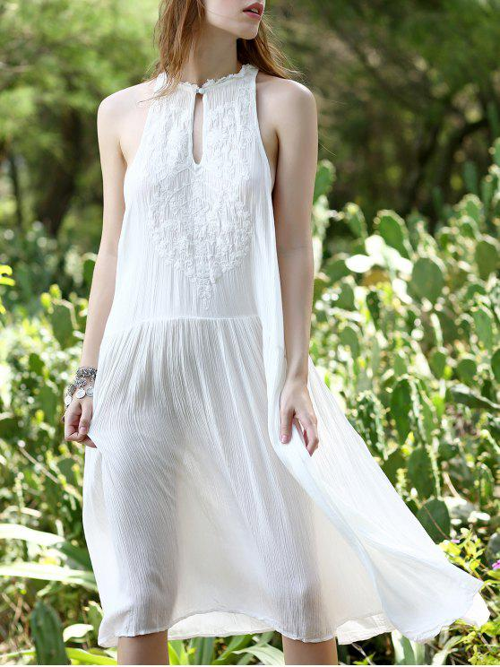 hot White Loose Beading Plunging Neck Sleeveless Dress - WHITE S