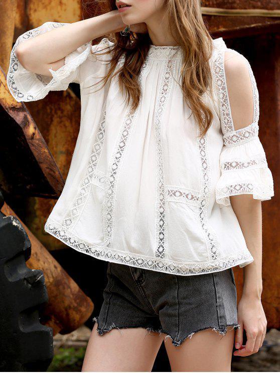 Top chiffon embelli patchwork de dentelle aux épaules dénudées - Blanc M
