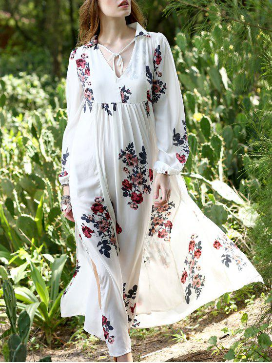 lady Floral Print Chiffon Kaftan Dress - WHITE S